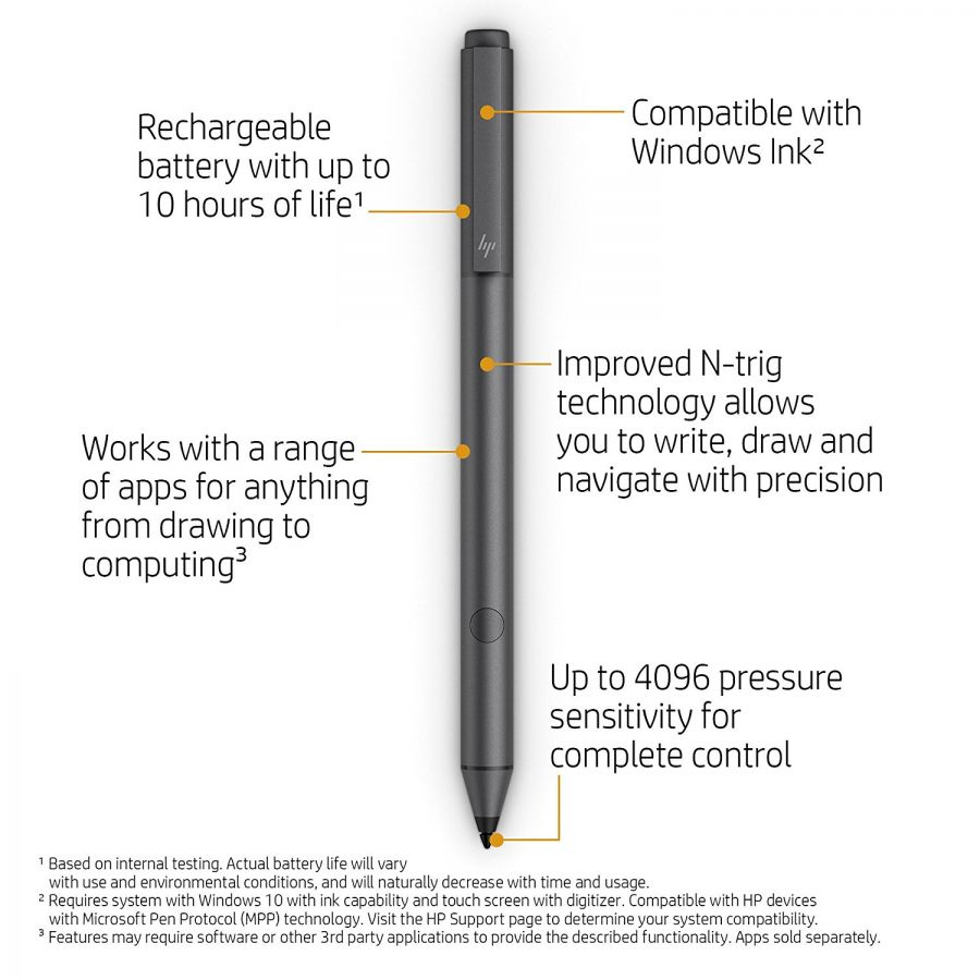 Details about HP Tilt Pen Active Stylus Dark Ash For Selected HP x360  Spectre ENVY Pavilion
